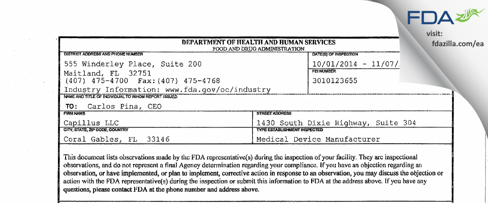 Capillus FDA inspection 483 Nov 2014