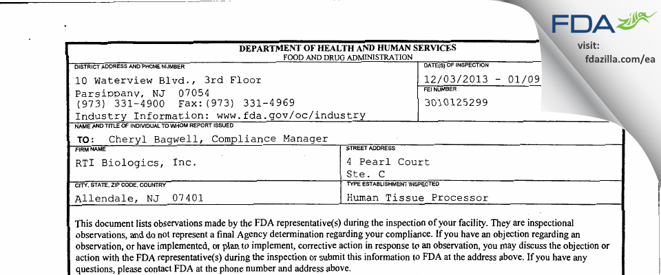 RTI Biologics FDA inspection 483 Jan 2014