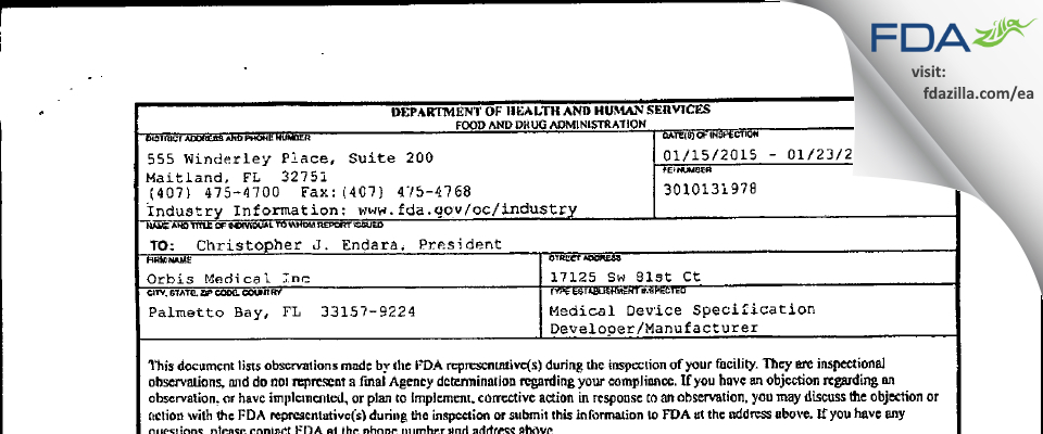 Orbis Medical FDA inspection 483 Jan 2015