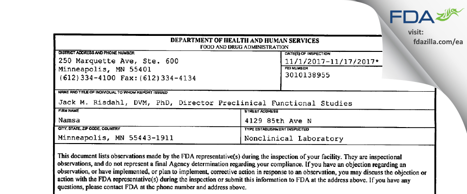 Namsa FDA inspection 483 Nov 2017