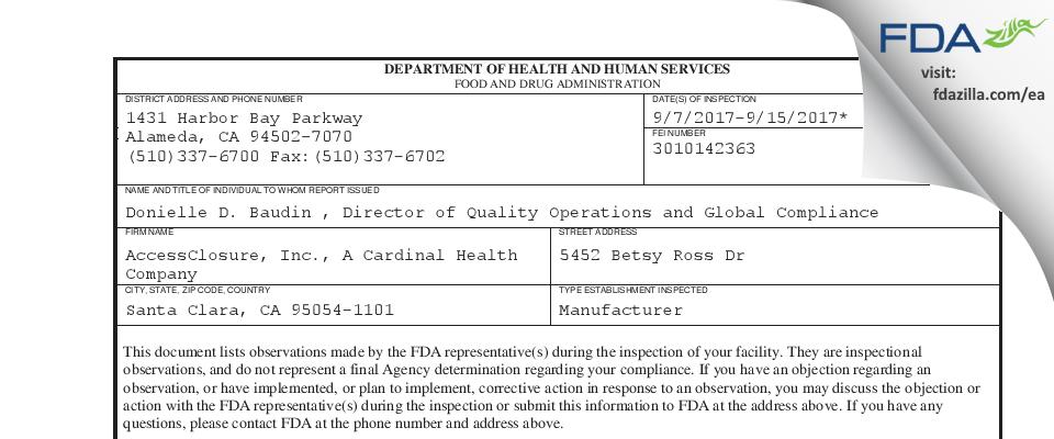 AccessClosure, A Cardinal Health Company FDA inspection 483 Sep 2017
