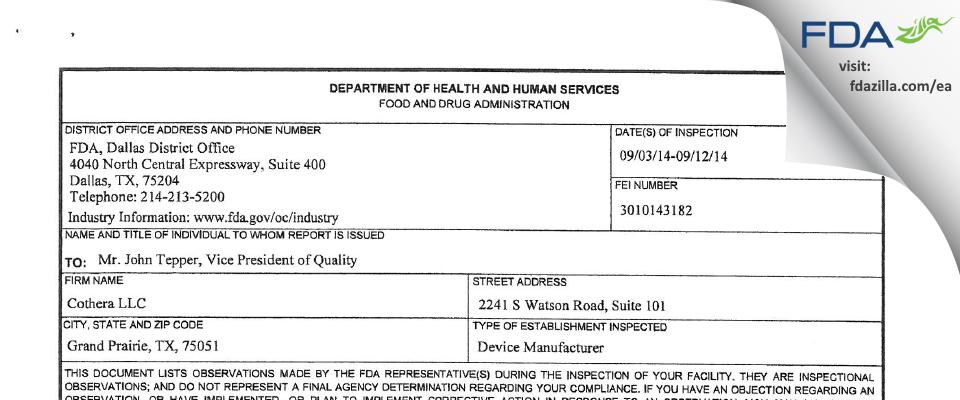 Breg FDA inspection 483 Sep 2014