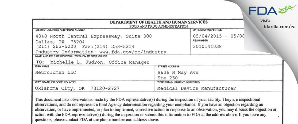 Neurolumen FDA inspection 483 May 2015