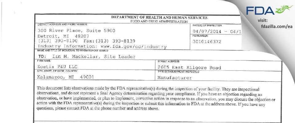 Zoetis P&U. FDA inspection 483 Apr 2014