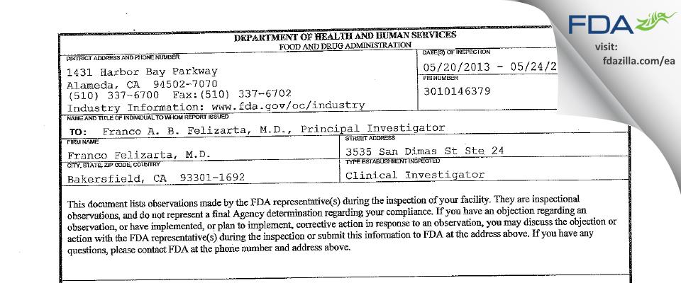 Franco Felizarta, M.D. FDA inspection 483 May 2013