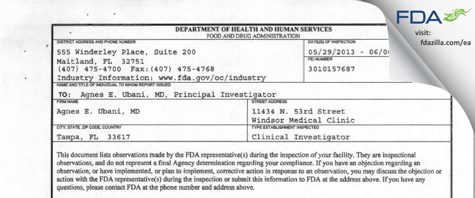 Agnes E. Ubani, MD FDA inspection 483 Jun 2013