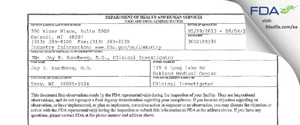 Jay H. Sandberg, D.O. FDA inspection 483 Jun 2013