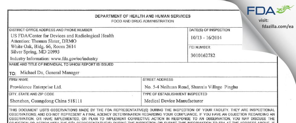 PROVIDENCE ENTERPRISE LIMITED FDA inspection 483 Oct 2014