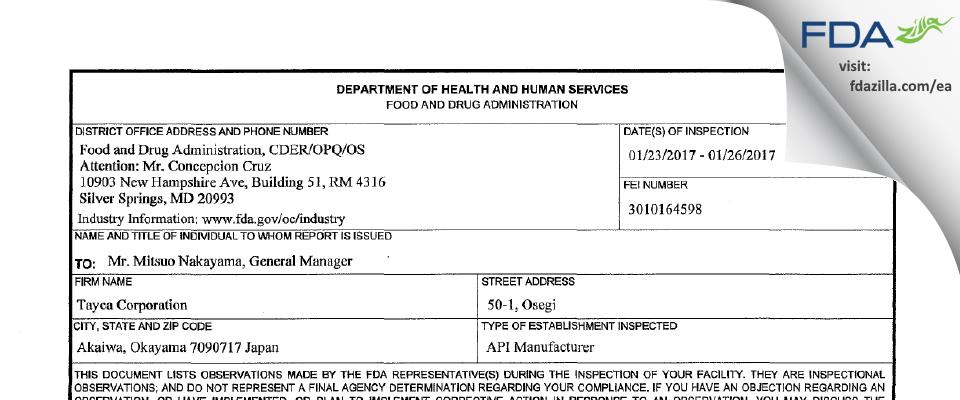TAYCA FDA inspection 483 Jan 2017