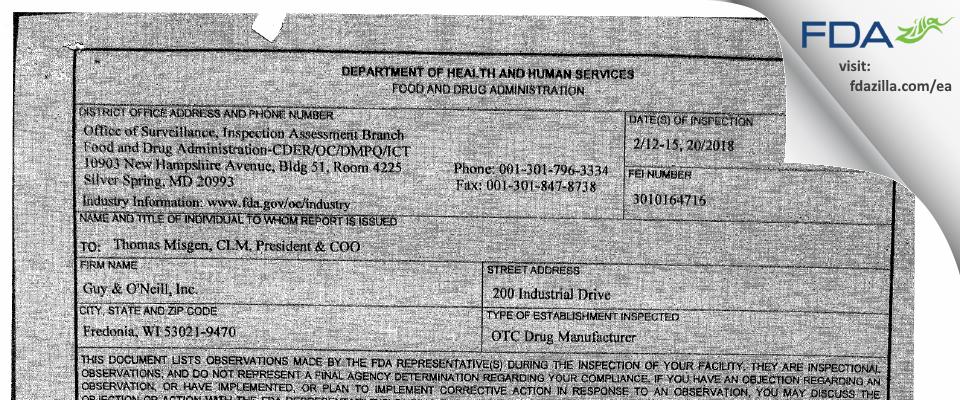 Guy & O'Neill FDA inspection 483 Feb 2018