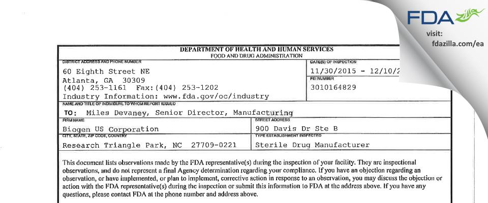 Biogen OSD FDA inspection 483 Dec 2015