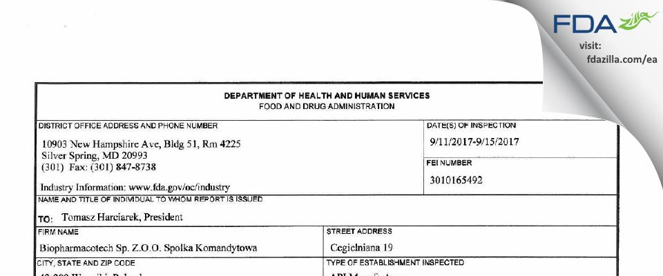 Biopharmacotech Sp. z.o.o. Spolka Komandytowa FDA inspection 483 Sep 2017