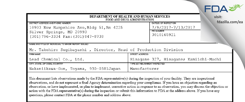 Lead Chemical FDA inspection 483 Jul 2017
