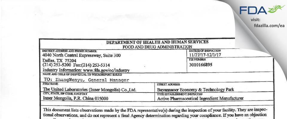 The United Labs (Inner Mongolia) FDA inspection 483 Dec 2017
