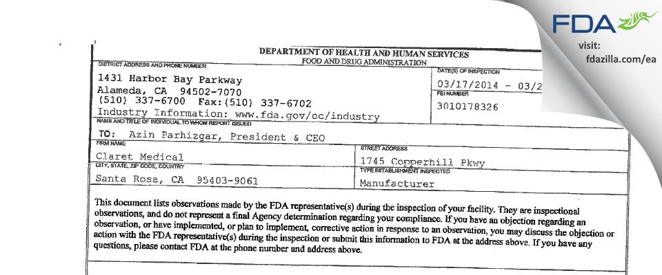 Claret Medical FDA inspection 483 Mar 2014