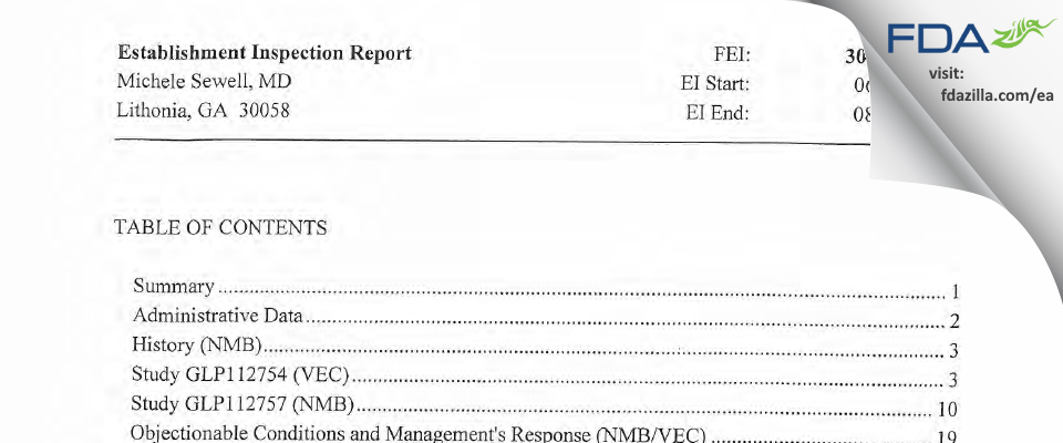 Michele Sewell FDA inspection 483 Aug 2013