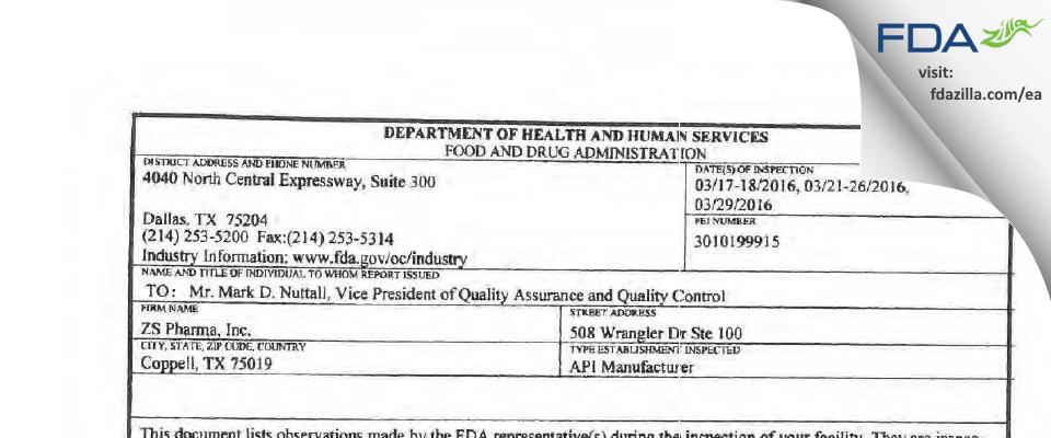 AstraZeneca Pharmaceuticals, LP FDA inspection 483 Mar 2016