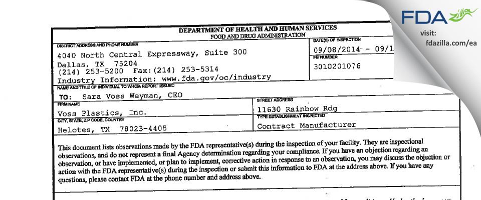 Voss Plastics FDA inspection 483 Sep 2014