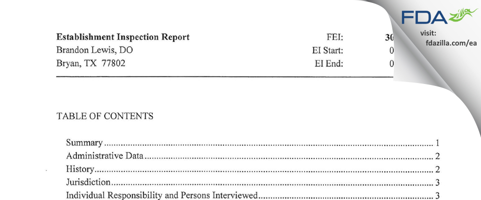 Brandon Lewis, DO FDA inspection 483 Jul 2013