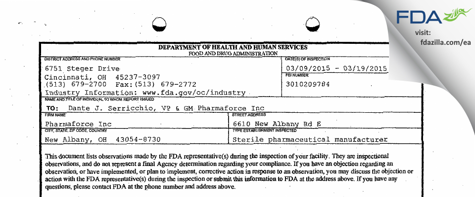 Pharmaforce FDA inspection 483 Mar 2015