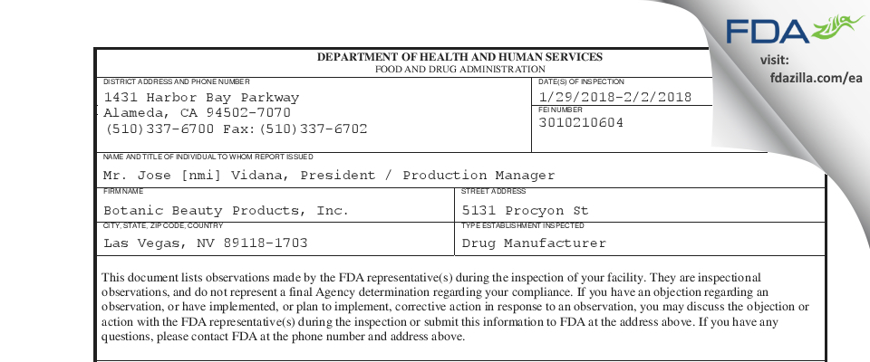 Botanic Beauty Products FDA inspection 483 Feb 2018