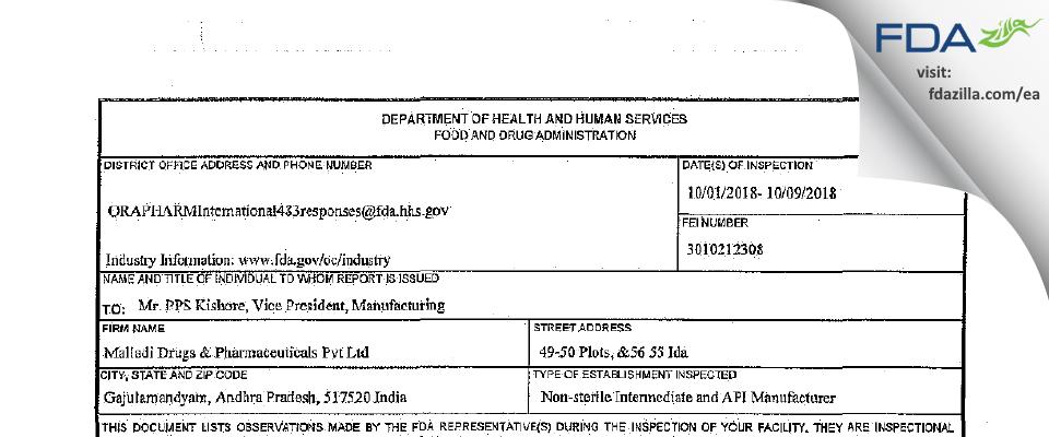 B. JAIN PHARMACEUTICALS PRIVATE LIMITED FDA inspection 483 Aug 2018
