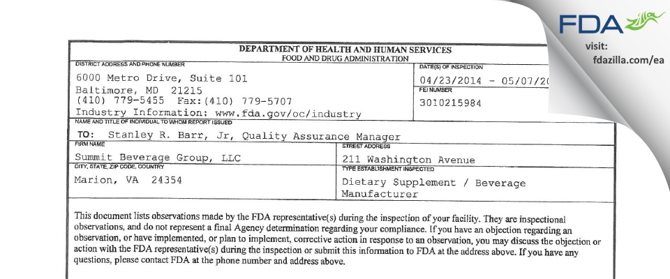 r USummit Beverage Group FDA inspection 483 May 2014