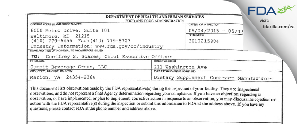 r USummit Beverage Group FDA inspection 483 May 2015