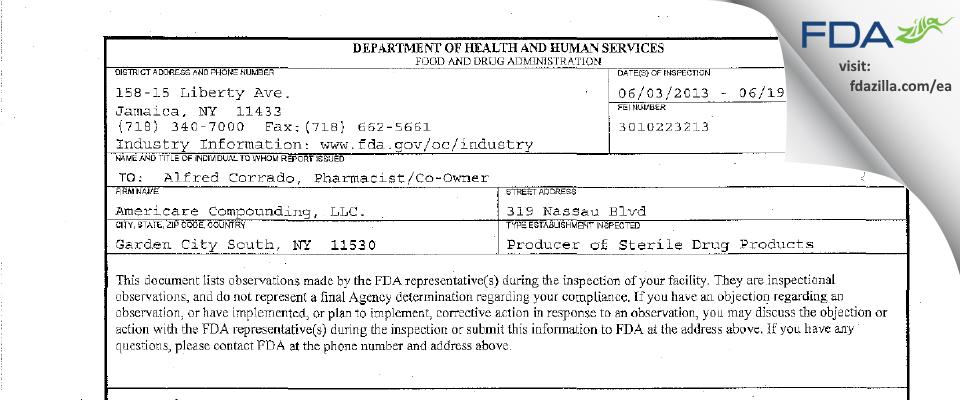 Americare Compounding. FDA inspection 483 Jun 2013