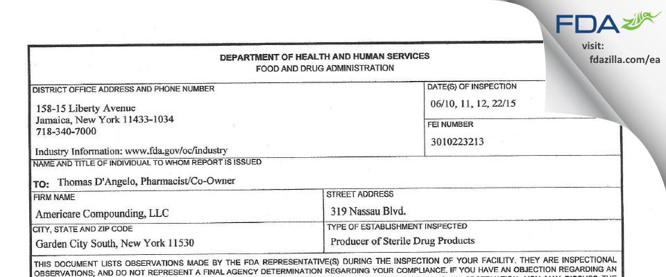 Americare Compounding. FDA inspection 483 Jun 2015