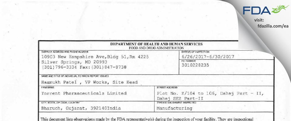 Torrent Pharmaceuticals FDA inspection 483 Jun 2017
