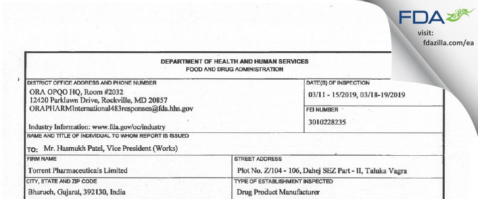 Torrent Pharmaceuticals FDA inspection 483 Mar 2019
