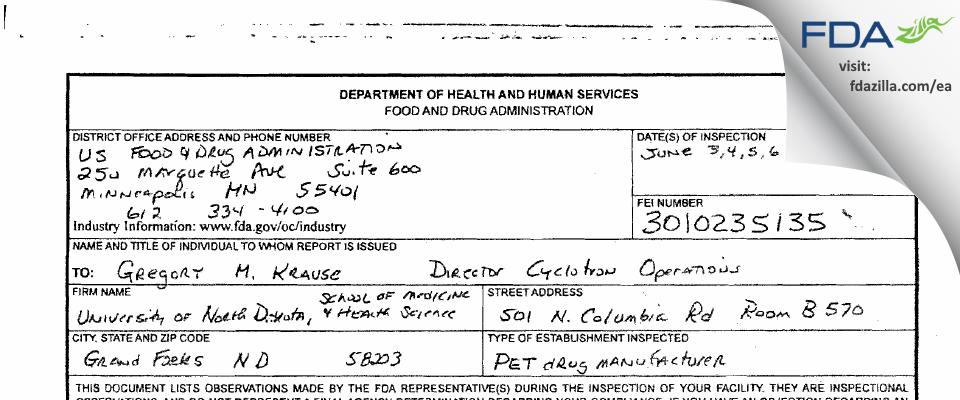 University of North Dakota, Sch of Medicine &  Hth Science FDA inspection 483 Jun 2013
