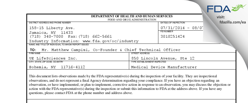 UE LifeSciences FDA inspection 483 Aug 2014