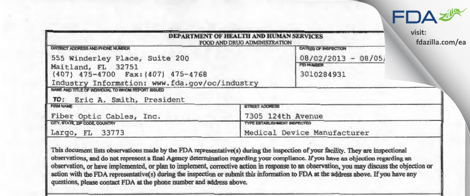 Fiber Optic Cables FDA inspection 483 Aug 2013