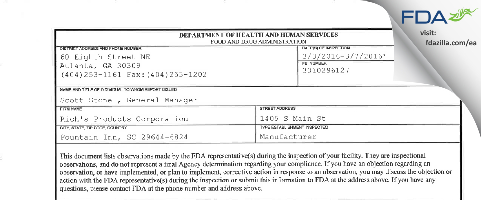 Rich's Products FDA inspection 483 Mar 2016