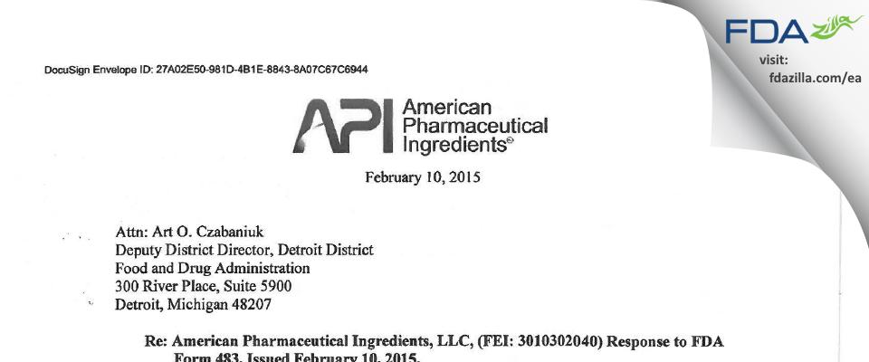 American Pharmaceutical Ingredients dba American Pharmac FDA inspection 483 Feb 2015