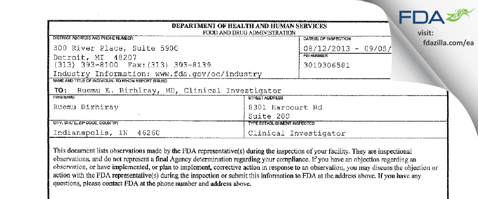 Ruemu E. Birhiray, M.D. FDA inspection 483 Sep 2013