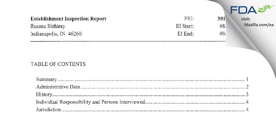 Ruemu E. Birhiray, M.D. FDA inspection 483 Sep 2013