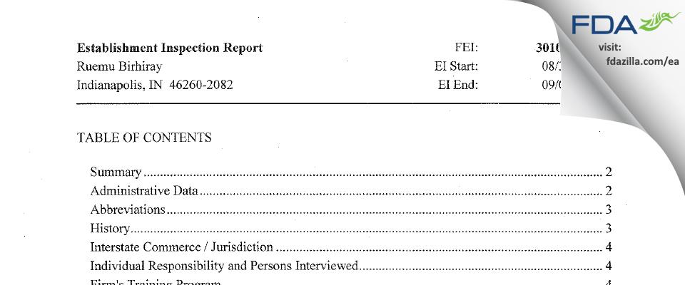 Ruemu E. Birhiray, M.D. FDA inspection 483 Sep 2015