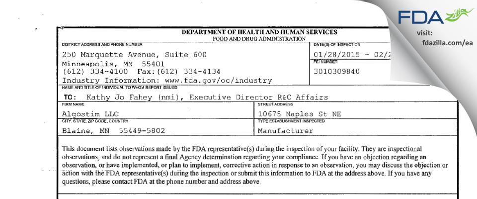 Nuvectra FDA inspection 483 Feb 2015