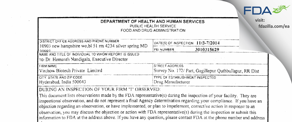 Virchow Biotech Private FDA inspection 483 Nov 2014