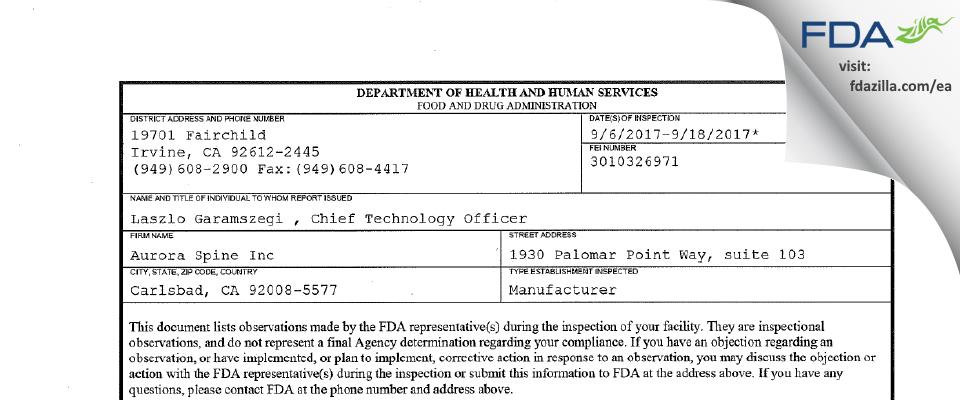 Aurora Spine FDA inspection 483 Sep 2017