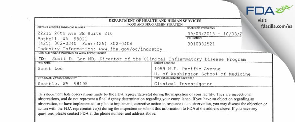 Lee, Scott MD FDA inspection 483 Oct 2013