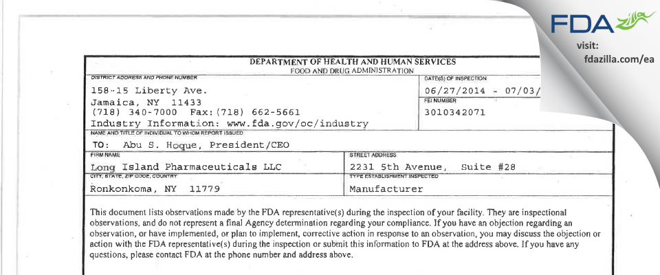 Long Island Pharmaceuticals FDA inspection 483 Jul 2014