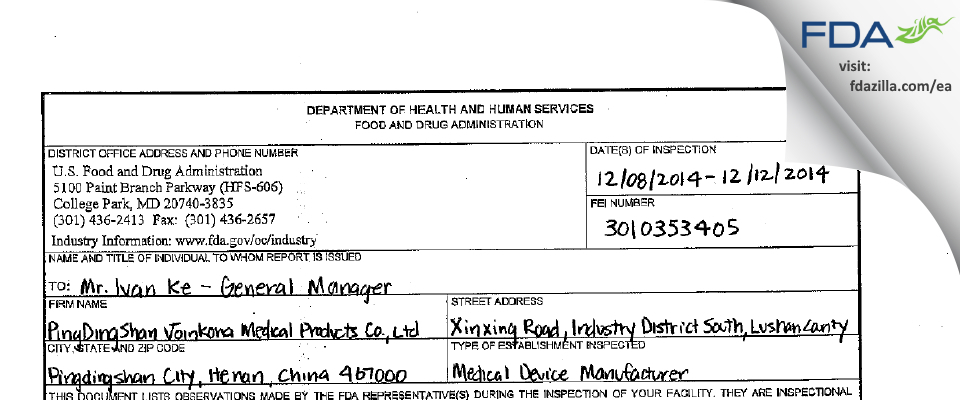 PingDingShan Joinkona Medical Products FDA inspection 483 Dec 2014