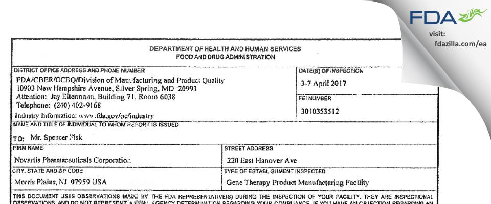 Novartis Pharmaceuticals FDA inspection 483 Apr 2017