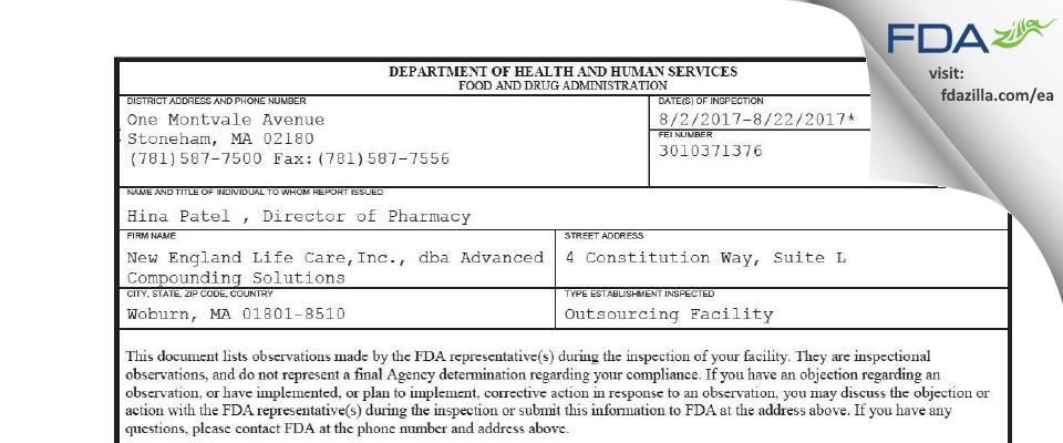 New England Life Care dba Advanced Compounding Solutions FDA inspection 483 Aug 2017