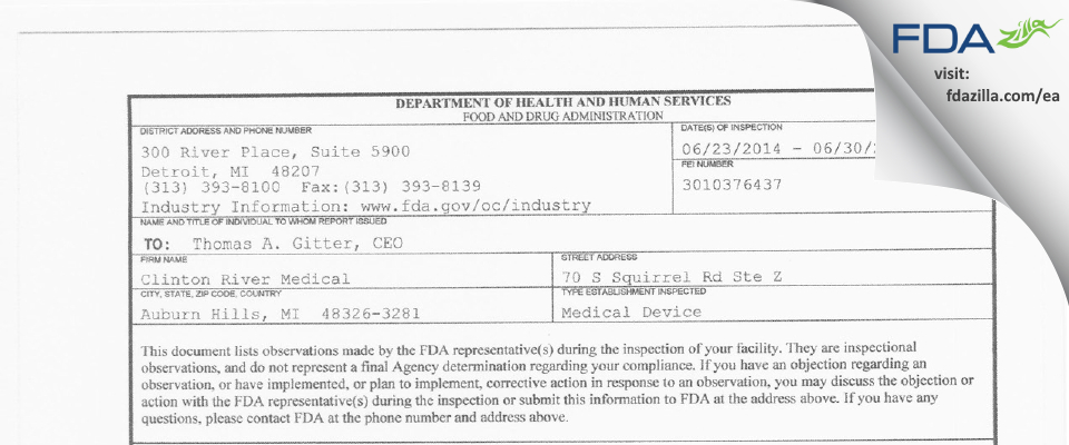 Clinton River Medical Products FDA inspection 483 Jun 2014