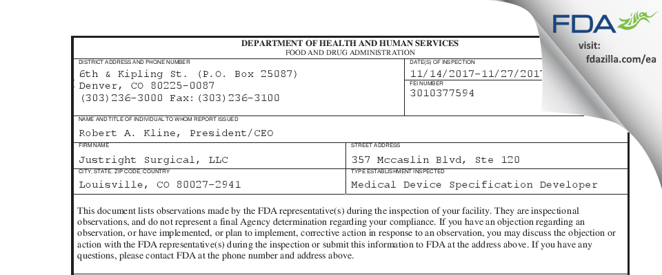 Justright Surgical FDA inspection 483 Nov 2017